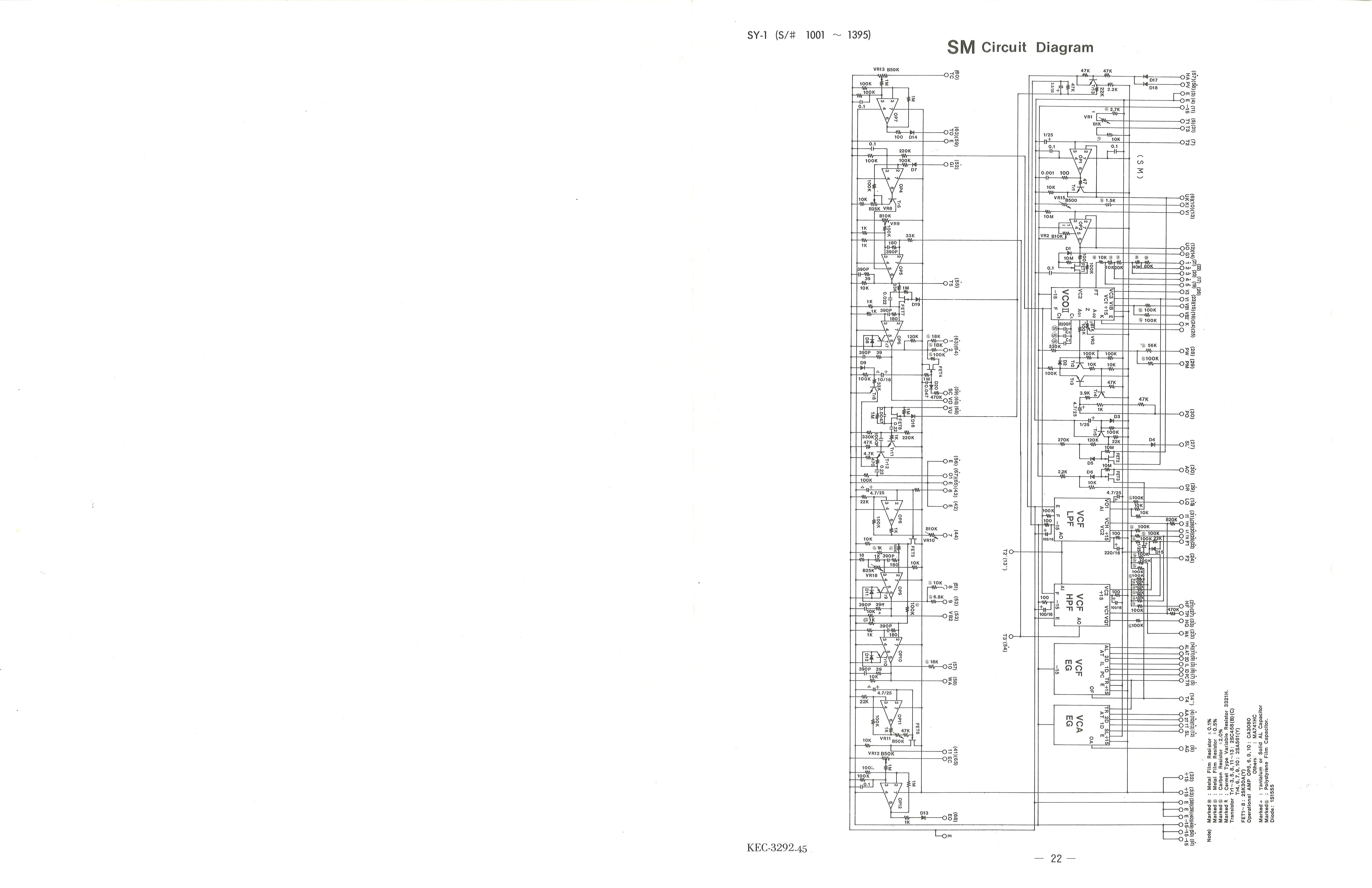 yamaha sy 1 service manual schematic diagram example 22 sm circuit diagram (sn 1001 1395)